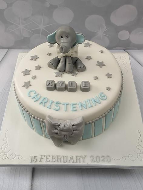 Grey Elephant Striped Cake Blue