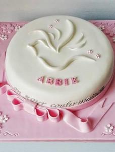 Abbie Pink Communion Cake