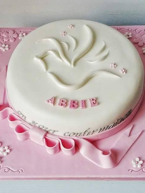 Abbie Pink Communion Cake