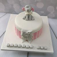 Grey Elephant Striped Cake Pink
