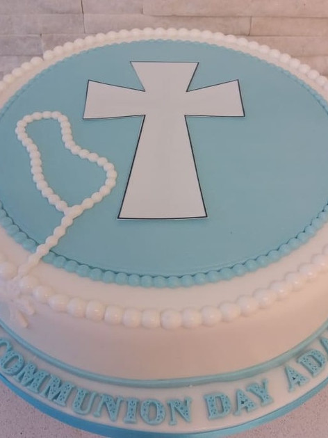Adam Blue Communion Cake