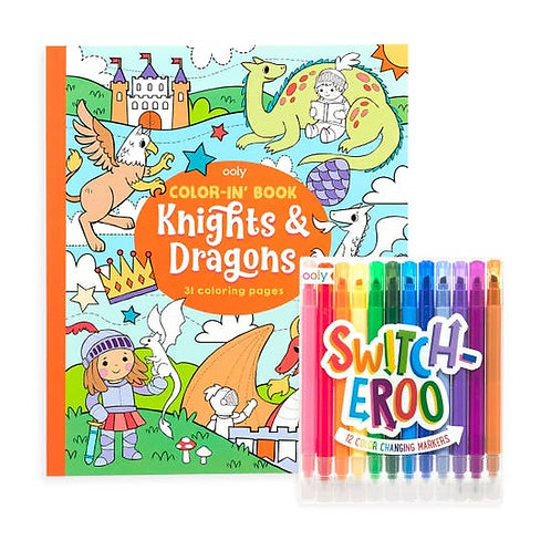 Color-in Book Set - Knights & Dragons
