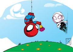Spiderman giving flower