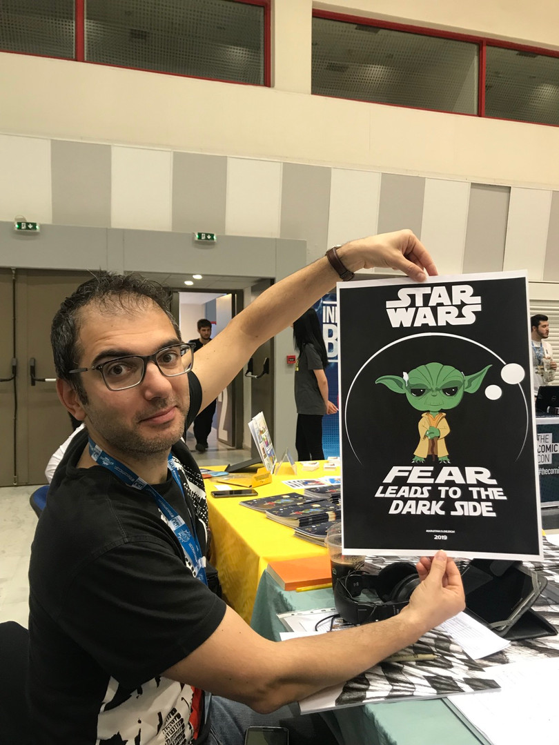 Ferruccelli holding my Yoda Poster