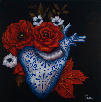Blooming Heart 24x24 inch Oil on canvas