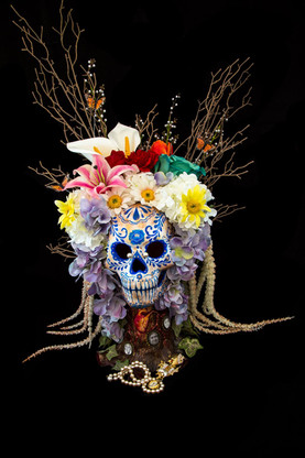 Decorated Clay Skull mix media