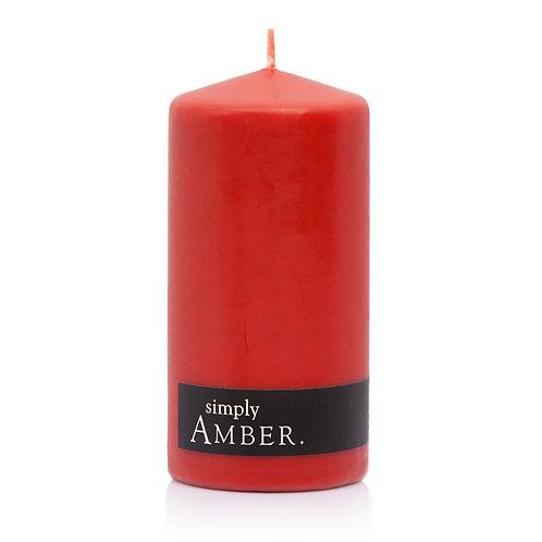 AMBER PILLAR CANDLE - 2 Pack - 60hr each - 6.5x13cm