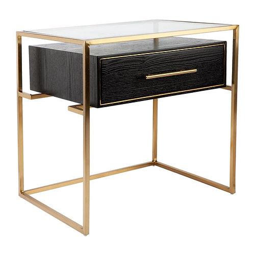 Vogue 1-Drawer Bedside Table - Black Ash/Brushed Gold/Glass - RR $1200