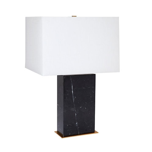 Dominique Table Lamp - Black Marble & Brass  w' White Shade 69cm high - RR$599