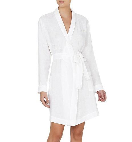 Linen Robe - Short - White / White Piping