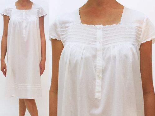 Cotton Nightgown - Helene - White - Knee Length - Cap Sleeve