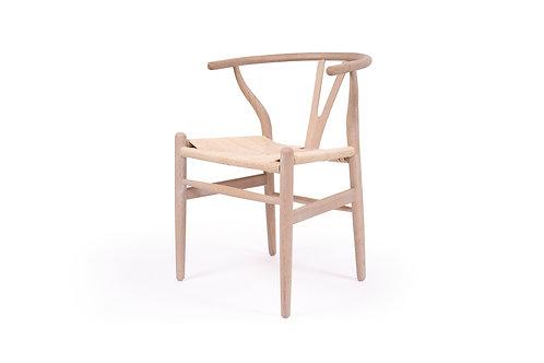 Wishbone Inspired Dining Chair - Solid Oak - Coastal Oak/Ivory Cord Seat