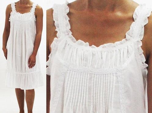 Cotton Nightgown - Zara - White - Knee Length - Sleeveless