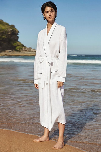 100% Pure Linen Robe - White / Navy Piping