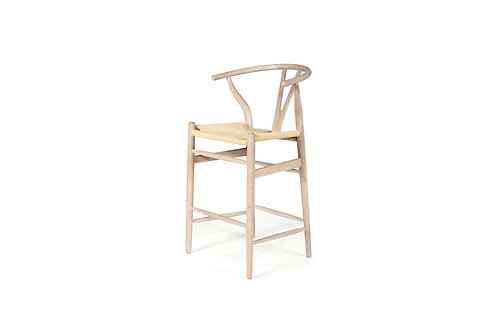 Wishbone Inspired Counter Stool - Solid Oak - Coastal Oak/Ivory Cord Seat