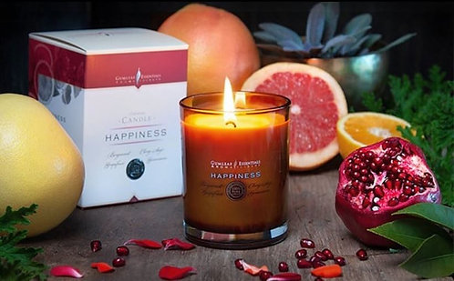 HAPPINESS VOTIVE CANDLE - glass w' bamboo lid - 60 hour