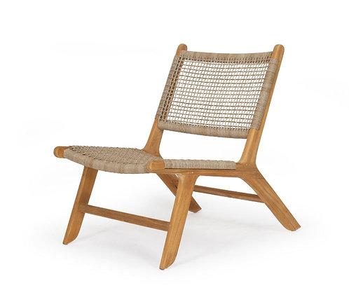 Zen Occasional Chair - Solid Teak/Washed Grey Woven Viro Waterproof Cord