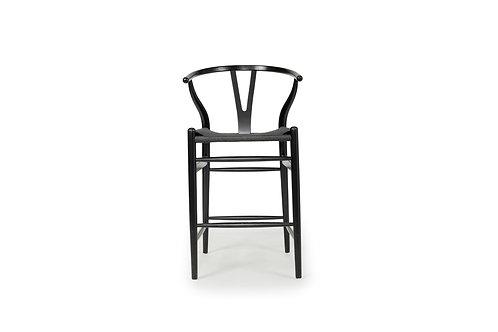 Wishbone Inspired Counter Stool - Solid Beech - Black/Black Cord Seat