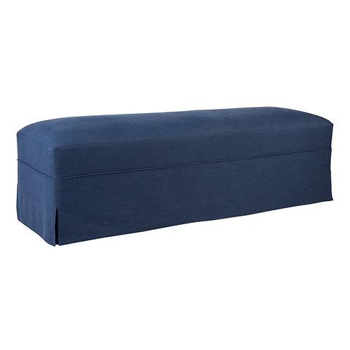 Brighton Bench Seat Ottoman w' Navy Linen Slip Cover - RR $675