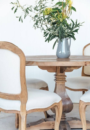 French Upholstered Dining Chair - Oak Frame/Linen was $359