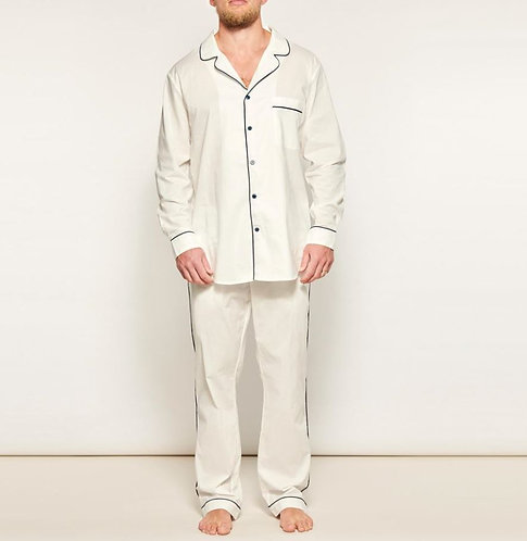 Mens PJ Set - 100% Cotton - White/Navy Piping - was $189