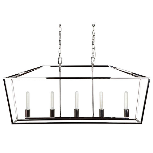 Le Mans Pendant - Nickel Finish/Clear Glass - 118x35x57cm high - was $1129