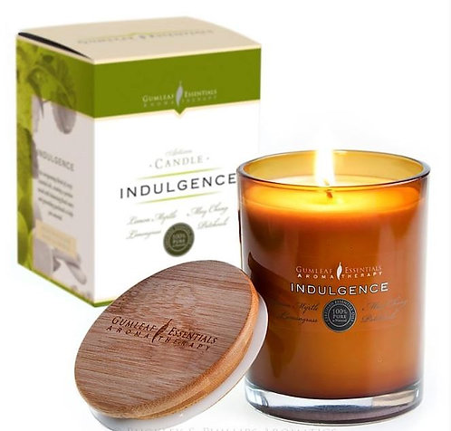 INDULGENCE VOTIVE CANDLE - glass w' bamboo lid - 60 hour