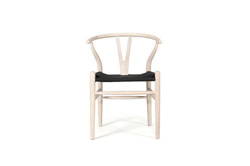 Wishbone Inspired Dining Chair - Solid Oak - Coastal Oak/Black Cord Seat