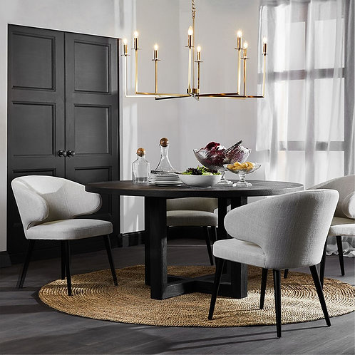 Harlow Dining Chair - Natural Linen/Black Timber - rr $495