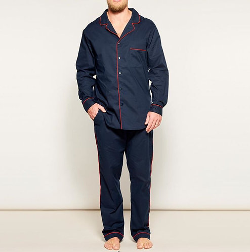 Mens PJ Set - 100% Cotton - Navy/Red Piping - was $189
