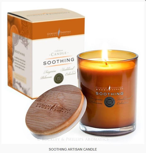 SOOTHING VOTIVE CANDLE - glass w' bamboo lid - 60 hour