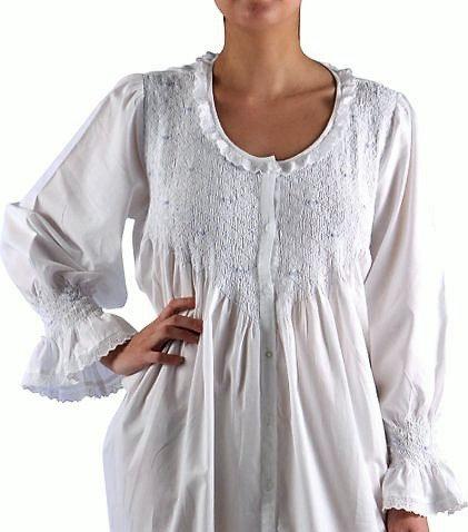 Cotton Nightgown - Amelia - Long - Long Sleeve - White/Pale Blue Grub Roses