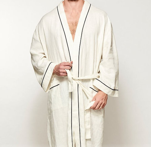 Mens/Womens Robe - UNISEX - 100% Linen - White/Navy Piping - was $189
