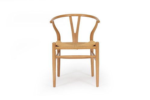 Wishbone Inspired Dining Chair - Solid Oak - Natural Oak/Natural Cord Seat