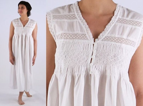 Cotton Nightgown - Jasmine - White - Long - Sleeveless - Shirring/Lace Insert