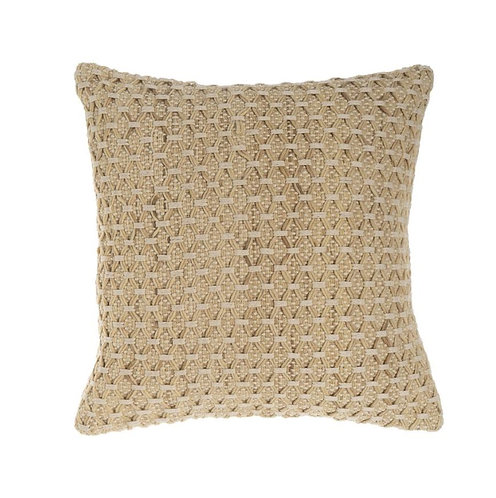 Nardah Woven Cotton/Wool Cushion - Jute - 50x50cm