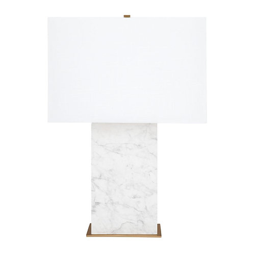 Dominique Table Lamp - White Marble & Brass w' White Shade 69cm high - RR$599