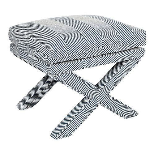 Chevron Foot Stool - Navy Linen - rr$899