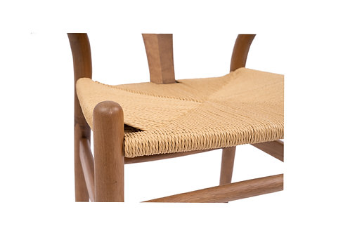 Wishbone Dining Chair - Solid Oak - Walnut Stain/Natural Seat
