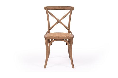 Cross Back Dining Chair - Solid Oak Frame - Natural/Natural - rr $199