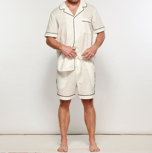 Mens Short PJ Set - 100% Cotton - White/Navy Piping - was $149