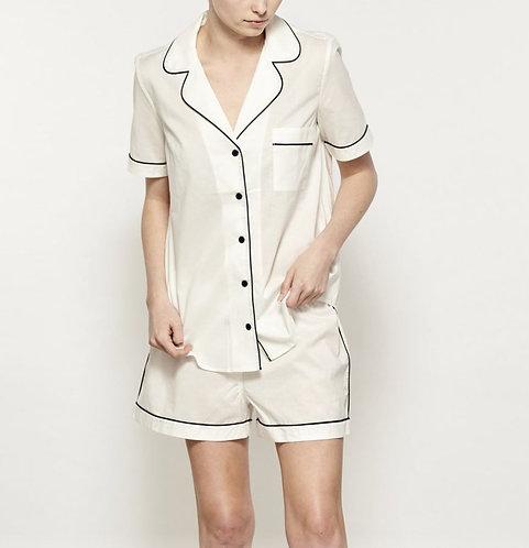 Ladies Short PJ Set - 100% Cotton - White/Navy Piping