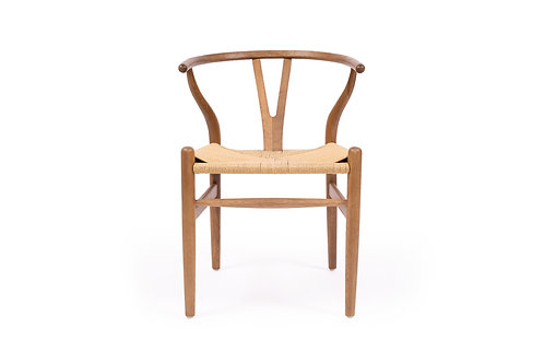 Wishbone Inspired Dining Chair - Solid Oak - Walnut /Natural Cord Seat