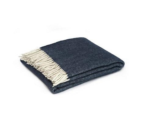 Fine Merino Wool Throw - Lonsdale Herringbone Navy 130cm x185cm