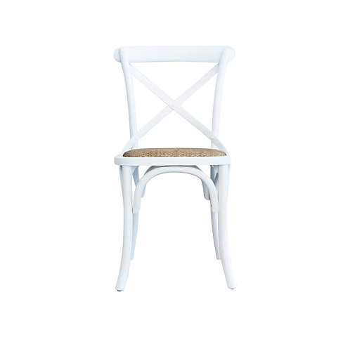 Cross Back Dining Chair - Solid Birch Frame - White/Natural - rr $199