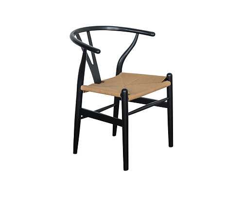 Wishbone Inspired Dining Chair - Solid Beech - Black/Natural Cord Seat