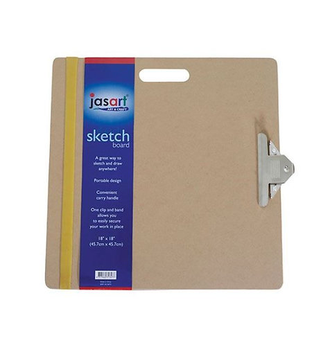Square Sketching Board - 45.7cm - Carry / Clip / Rubber Strap