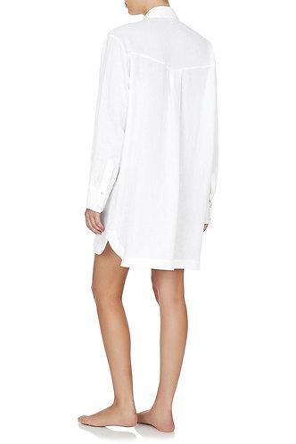 Pure Linen Boyfriend Nightshirt - White