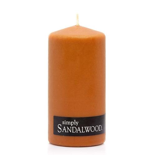 SANDALWOOD PILLAR CANDLE - 2 Pack - 60hr each - 6.5x13cm