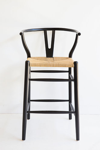 Wishbone Inspired Counter Stool - Solid Beech  - Black/Natural Cord Seat